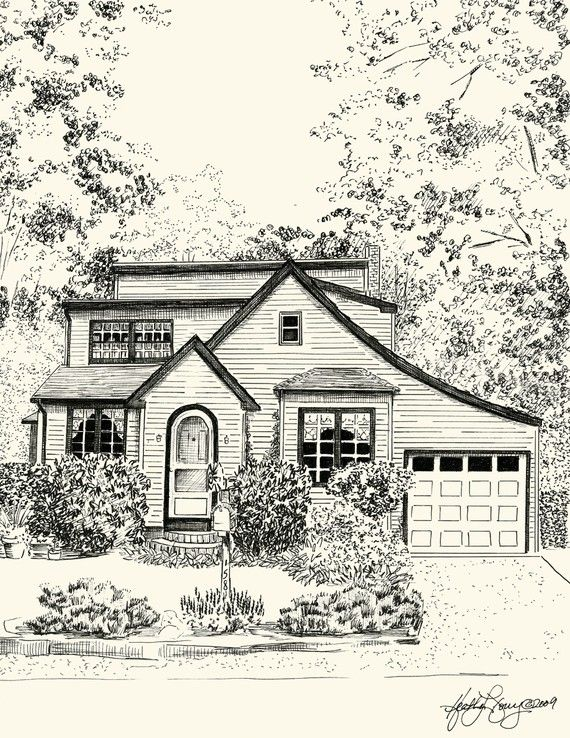 Custom Pen and Ink Architectural Sketch of your House by theinklab, $250.00