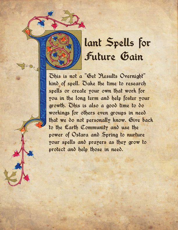 Ostara - Plant Spells for Future Gain BOS Page