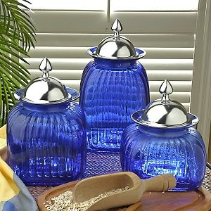 Blue And Silver Canisters