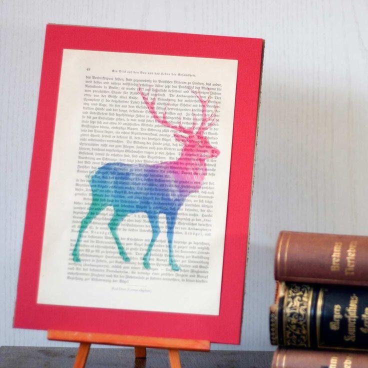 Unique Red Deer Print: Antique Encyclopedia Page.