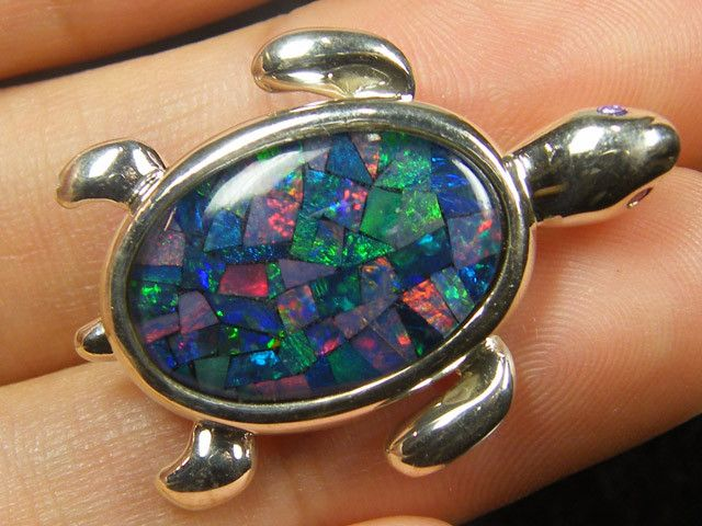 mosaic opal sterling silver brooch cj 548 ml