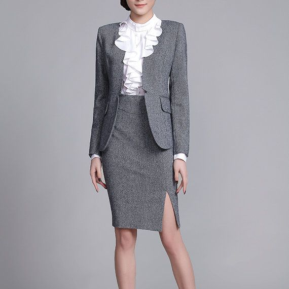 Made to Order Business Suit Office Attire Women Autumn Winter Outfits Grey Suited Blazer and Skirt CW129