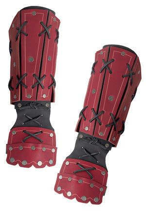 Samurai Leather Bracers - Red