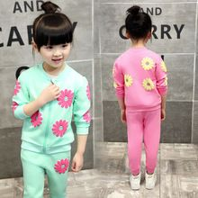 2016 New Children Survetement Garcon Sports Two Piece Cute Kids Jogging Fille Girls Spring Autumn Flower Cute Girl Outfits Suit