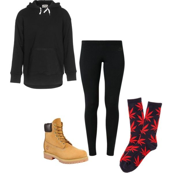 ACNE Kurt Black Cotton Hoodie- jades24.com Nike Leg-A-See Women's Tights- nike.com Women's 6-Inch Premium Waterproof Boots- http://shop.timberland.com/ HUF The Plant Life Socks in Navy  Red- http://www.karmaloop.com/