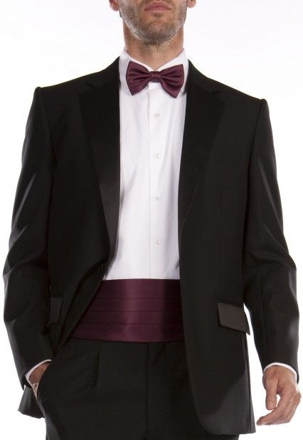 Dinner suit and coloured bow and cummerbund make a smart combination, to match a ladies dress?
