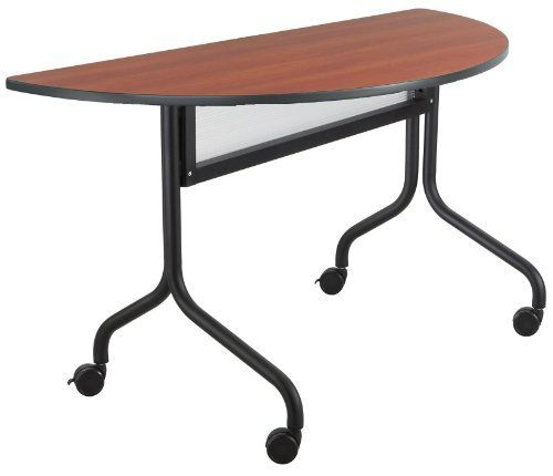 "Safco Products Impromptu Half Round Mobile Training Table, 48 by 24-Inch, Cherry Top with Black Base by Safco. $243.00. 1"" Thick high pressure laminate top and durable vinyl edge band. Top folds down easily for nesting and storage. Tables are 29"" high. 1 1/4"" Tubular steel base. For training sessions or conference meetings. Thrive on impulse. Impromptu Mobile Training Tables work together to create unique combinations for training sessions or conference meetings. All..."