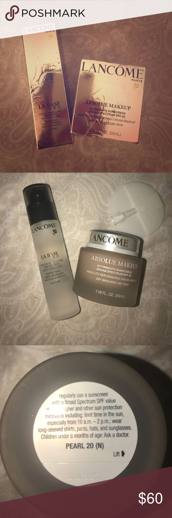 Lancome Foundation Lancome - La Base Pro - Silicone base primer & Lancome Absolue Full Coverage Cream Makeup !! BOTH ARE FULL SIZE!!! BRAND NEW NEVER USED IN GREAT CONDITION!!! Lancome Makeup Foundation
