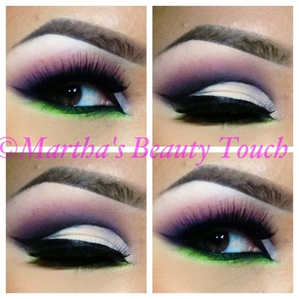cut crease with a pop of green
