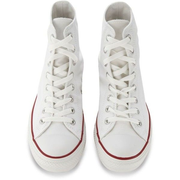Converse White 'All Star' hi-top trainers ($38) ❤ liked on Polyvore featuring shoes, sneakers, star sneakers, converse shoes, high top shoes, converse trainers and converse sneakers