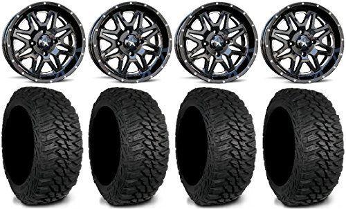 MSA Black Vibe ATV Wheels 245x75-16 Mud Hog LT Tires Kawasaki Teryx Mule