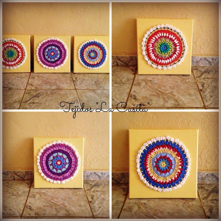 Crochet Mandalas on canvas.