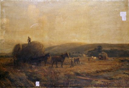 "Oil painting from the Fine Art collection. ""Steyning"" by Alfred Fitzwalter Grace, showing farmworkers loading hay onto two wagons. Astream runs in the foreground."