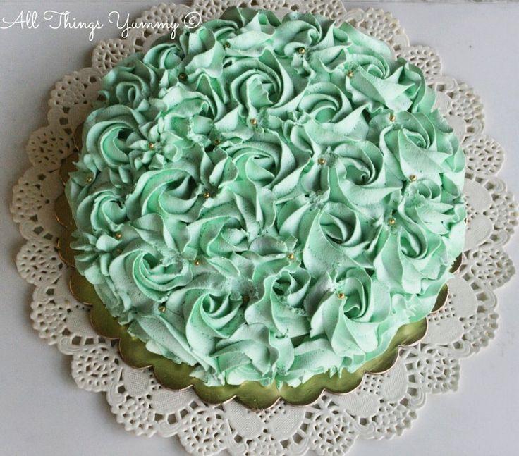 Mint Green Rosettes Decor Cake