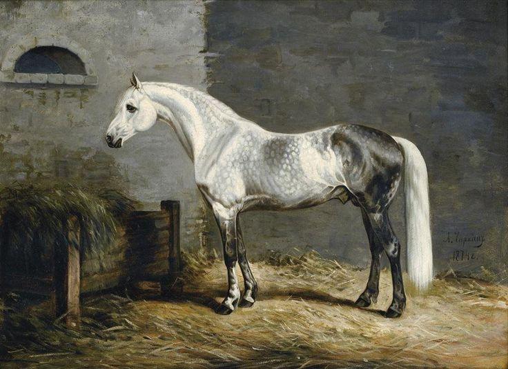Annons på Tradera: HÄSTEN GRANIT av CHIRKIN Skimmel Häst Hästar Tsar Ryssland Oljetryck