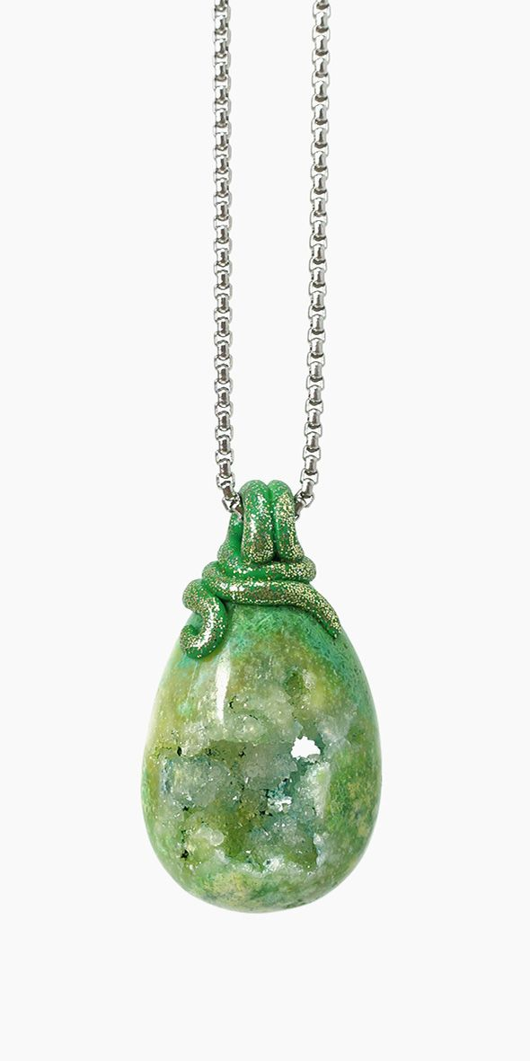 Green Geode Crystal Necklace