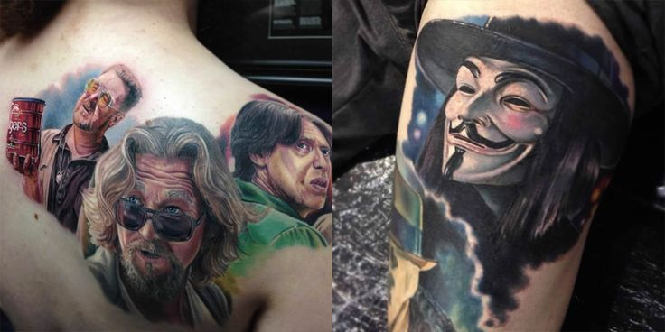 big lebowski and v for vendetta tattoos by by Paul Acker