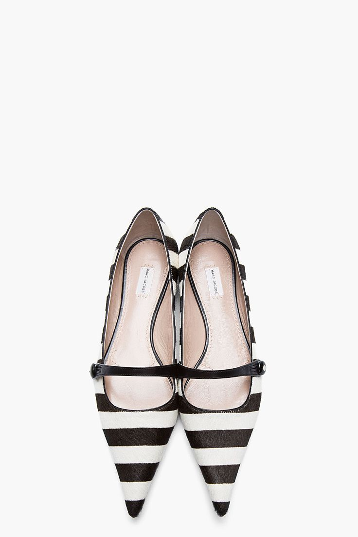 MARC JACOBS Black & White Striped Calf-Hair Pointed Mary Jane Flats