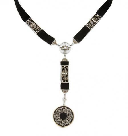 Circa 1910, Edwardian Black Enamel, Diamond, Pearl and Gros Grain Ribbon Pendant-Watch Necklace for Sale at Auction on Wed, 12/10/2008 - 07:00 - Important Estate Jewelry | Doyle Auction House