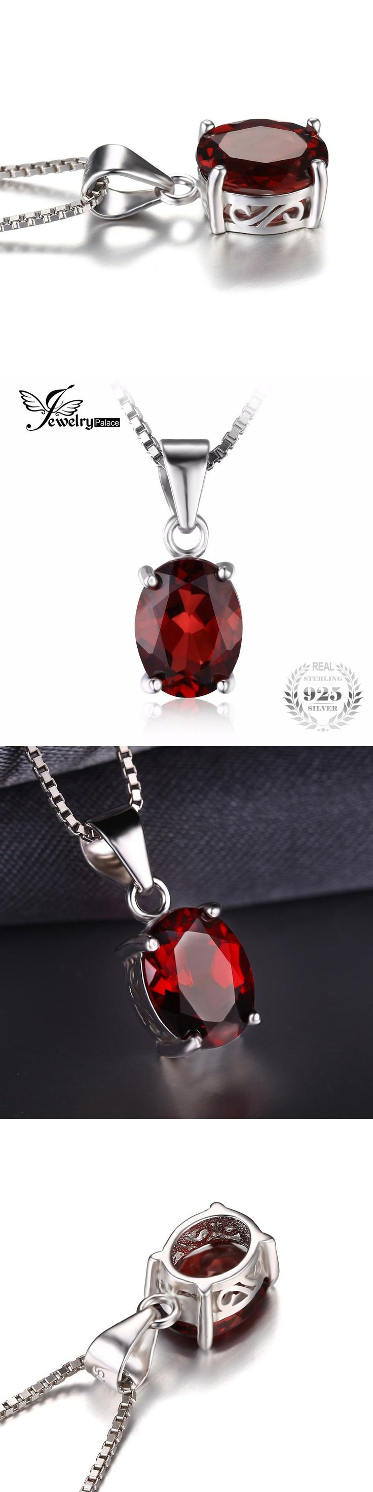 Charms 925 Sterling Silver Garnet Pendant Necklace fit Chain Necklace 18 Inch Genuine 925 Silver Natural stone Pendant For Women