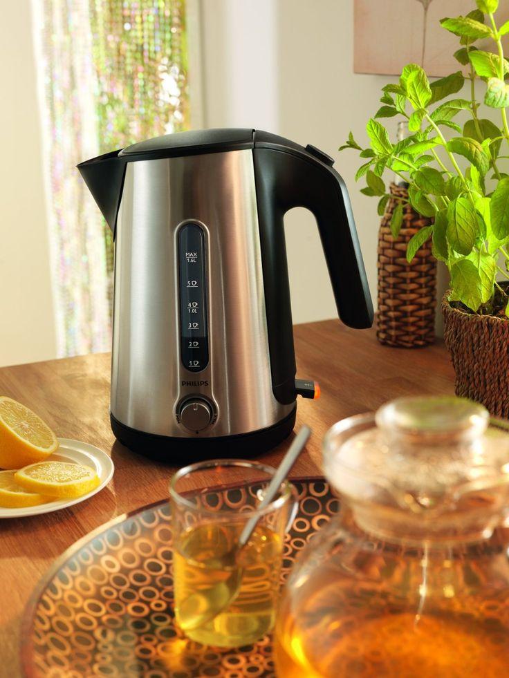 Philips RVS waterkoker met instelbare temperatuur: Voor groene thee moet het water 80 °C zijn, voor oploskoffie 90 °C en voor zwarte thee 100 °C.