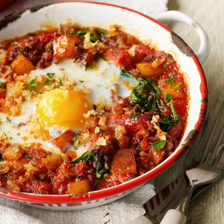Ease into the weekend with a hearty dish of veggie baked eggs. Meat eaters, do not fret - you can stir through crispy fried chorizo for a fiery kick.