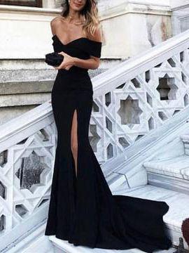 Sexy Abiballkleider Abendkleider Carmen Ausschnitt Etui Linie Lange