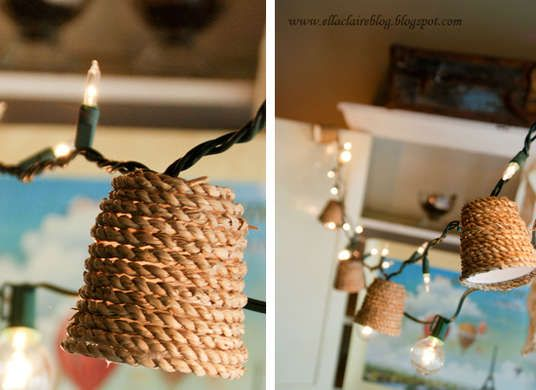 7 Ways to Transform String Lights from Holiday to Every Day - Natural Glow: They may look like something out of a catalog, but you can make these jute-wrapped light shades yourself with just a few supplies—they're actually small (Dixie-size) plastic cups dressed up in jute twine.