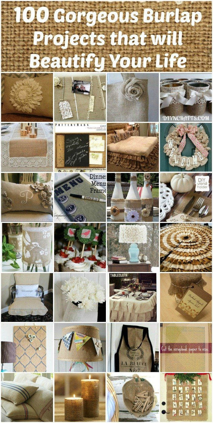 100 Gorgeous Burlap Projects that will Beautify Your Life – DIY & Crafts - Going to have a go at the up-cycled vase...