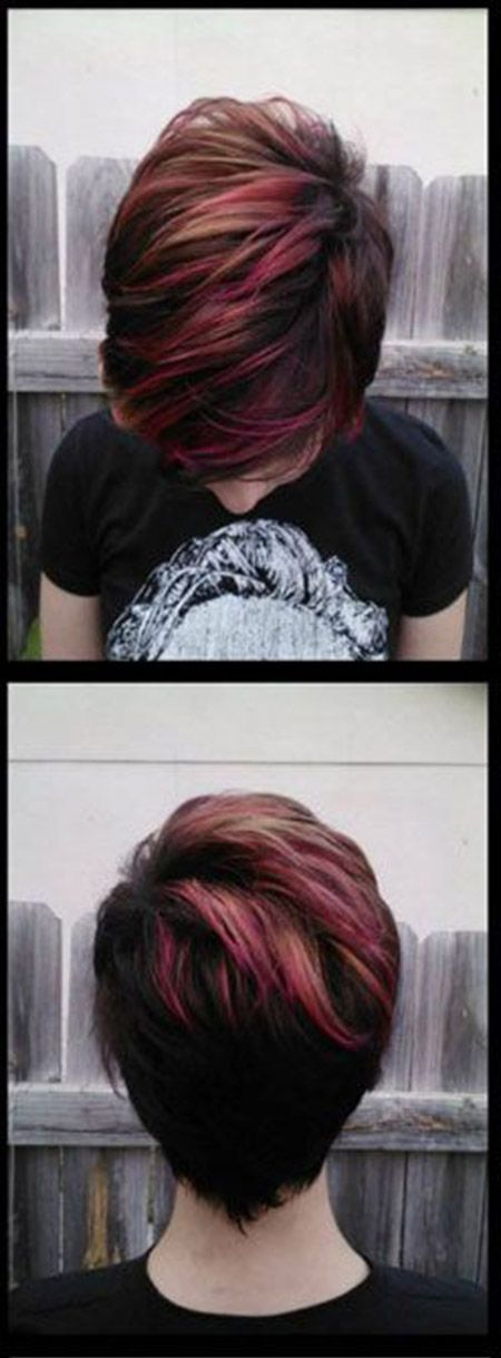 Short hairstyles with red highlights hair do s pinterest short