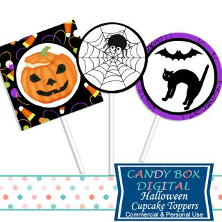 Just in time for a Halloween celebration, cute cupcake toppers for spooky…