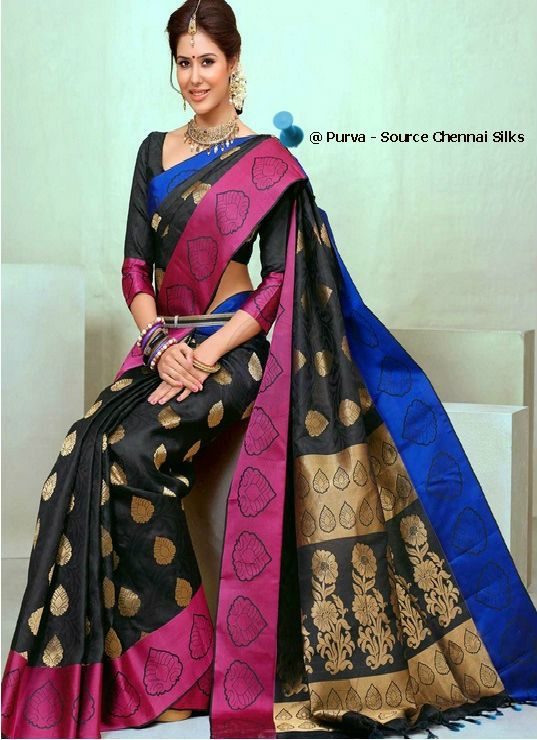 ❀Purva❀  - Black and Pink - Silk Saree - Source - The Chennai Silks