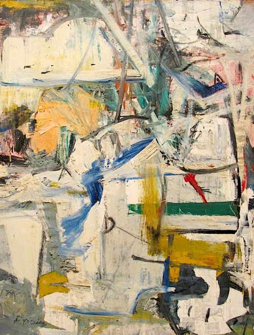 willem de kooning -  easter monday, 1955. This piece showcases one of the earliest (albeit accidental) examples of image transfer.