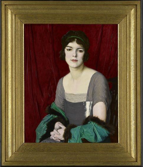#William #Strang: The #Green #Cloak, #Portrait of the #actress Miss #Barbara #Horder, 1918  #Framed  #Oiloncanvas #modernart #Britishart #llfa