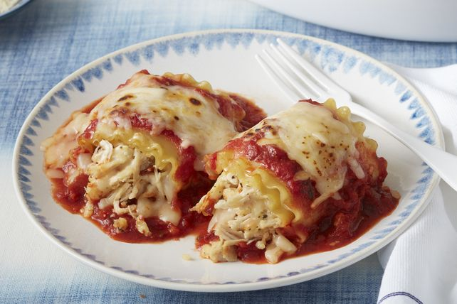 Lasagna takes a new twist by rolling up the filling in cooked lasagna noodles, then topping with shredded mozzarella and baking in a flavourful tomato and basil pasta sauce.