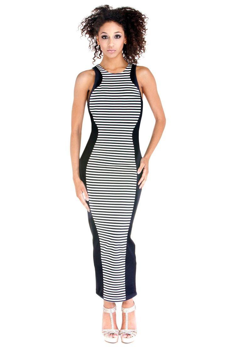 Flattering, Long Stripe Dress