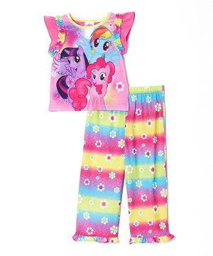 This Pink Rainbow My Little Pony Pajama Set - Toddler & Girls by My Little Pony is perfect! #zulilyfinds