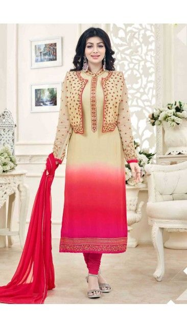 Stylish Ayesha Takia Cream And Pink Georgette Churidar Suit With Dupatta - DMV14820