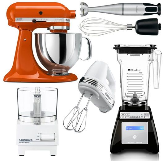 The Kitchn's Guide to Essential Small Electric Appliances Setting Up a Kitchen:  1. Hand-Held Mixer OR Stand Mixer:  2. Countertop OR Immersion Blender:  3. 3-Cup OR 11-Cup Capacity Food Processor:   4. Two-Slot Toaster OR Toaster Oven.