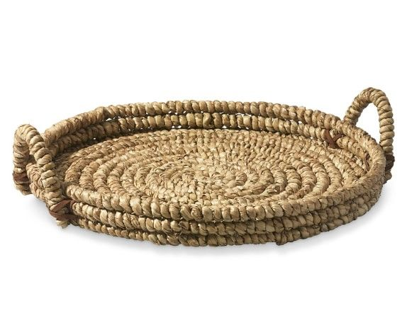 Woven Seagrass Tray With Leather Large Home Accessories