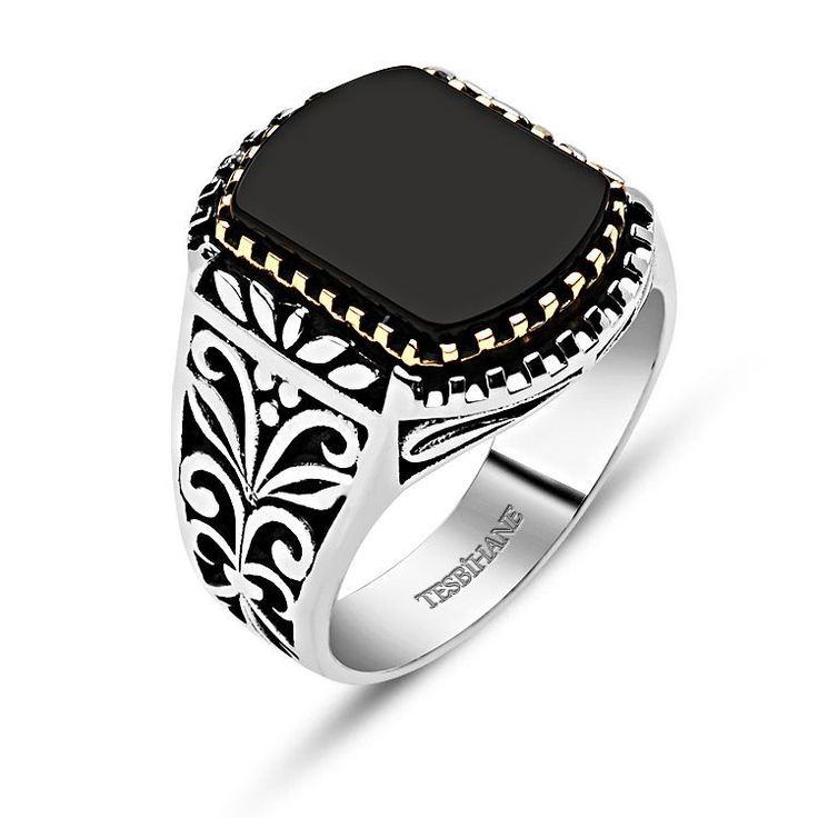 Sterling Silver Onyx Stone Ring
