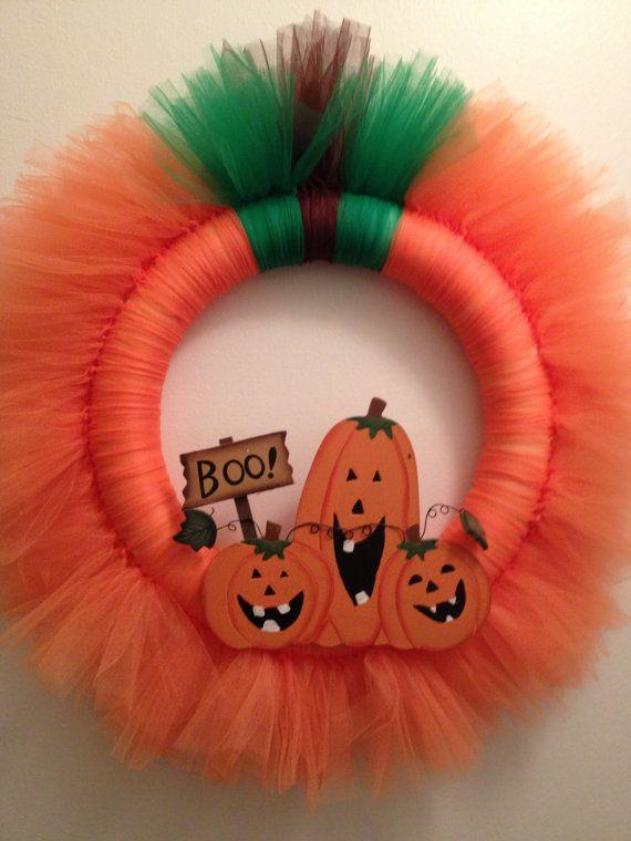 Pumpkin Tulle Wreath by ideasbyjamie on Etsy