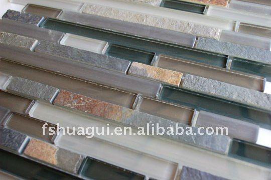 tile backsplash crystal glass mix slate backsplash mosaic tiles
