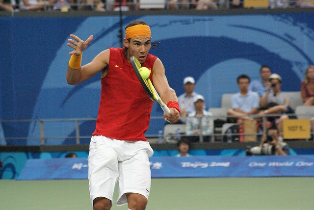 Nadal wins the Olympic Gold medal in Beijing 2008. Will he do it again this year?? More pics at   http://www.flickr.com/photos/30387557@N07/sets/72157607218508043/