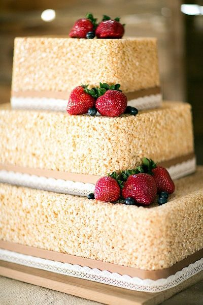 Yes, this is a Rice Krispies wedding cake. And it's so much cooler than a regular cake! | Kina Wicks Photography