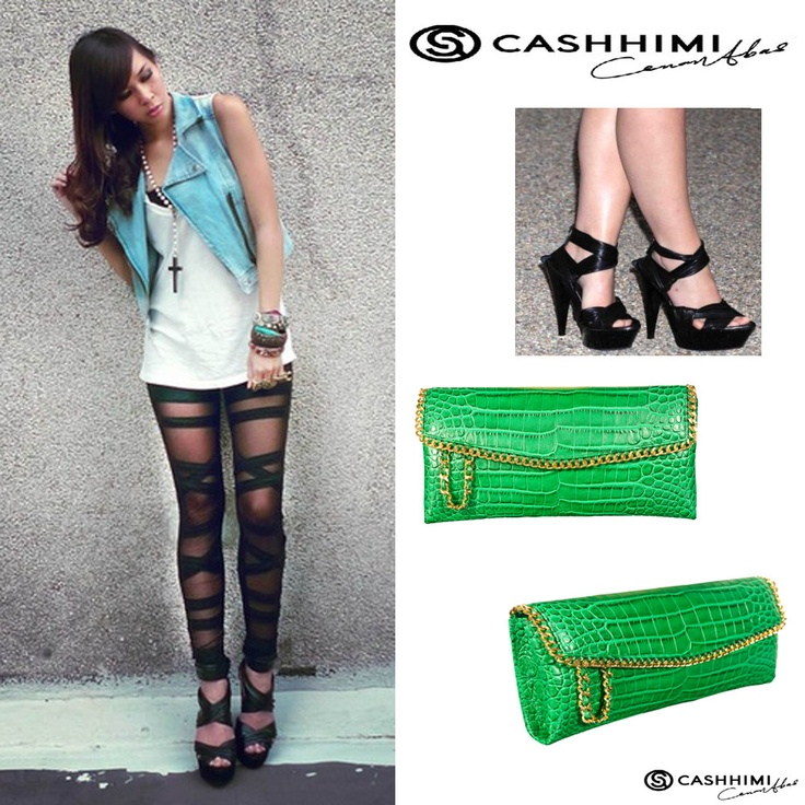 Cashhimi Green DOHENY  Leather Clutch