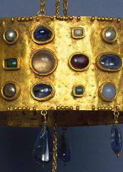 Seventh century Visigothic votive crown, detail