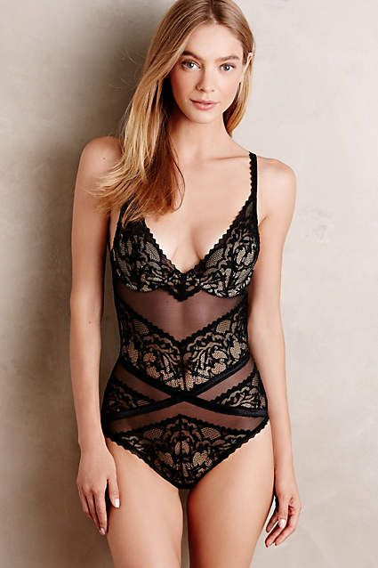 Calvin Klein Underwear Ribboned Lace Bodysuit - anthropologie.com
