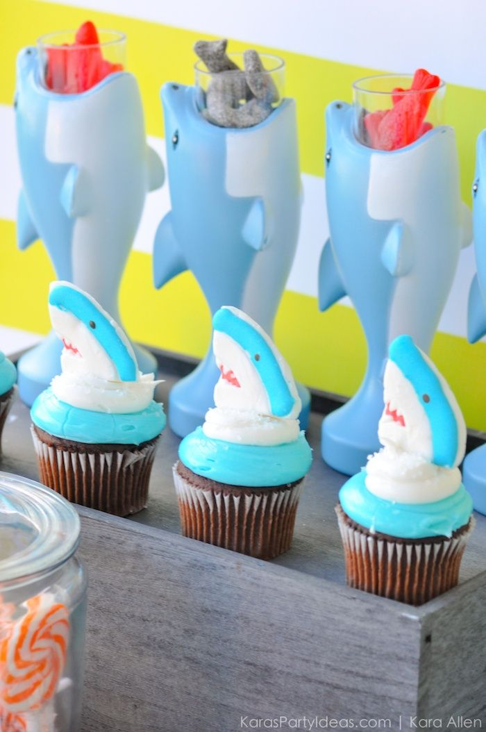 Shark cupcakes at a Jawesome shark themed birthday party by Kara Allen   Kara's Party Ideas   Cute for Shark Week!  _-22