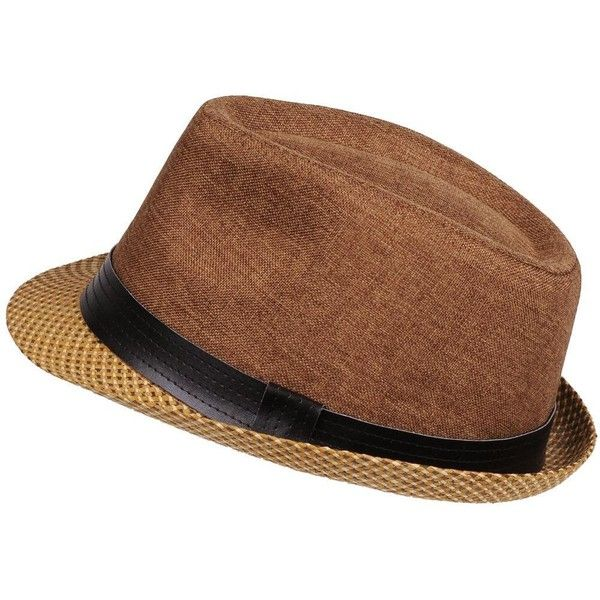 Black Rivet Straw Brim Fedora w/ Band ($12) ❤ liked on Polyvore featuring men's fashion, men's accessories, men's hats, mens summer hats, mens straw fedora hats, mens summer straw fedora hats, mens straw hats and mens fedora hats